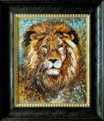 Картина из стекла «Лев»