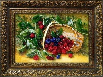 Картина из стекла «Корзина ягод»