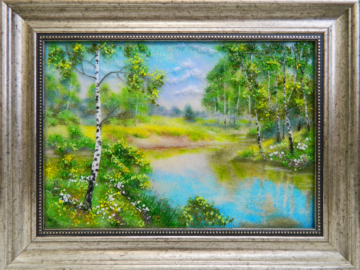 Картина из стекла «Березки у реки»