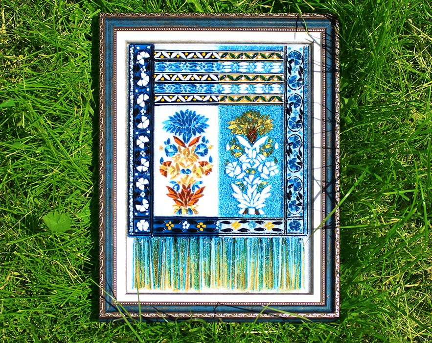 Слуцкий пояс с васильками синий