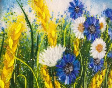Картина из стекла «Васильки и ромашки»