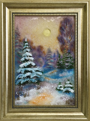 Картина из стекла «Закат в зимнем лесу»