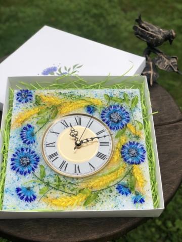 Часы из стекла «Васильки и пшеница»